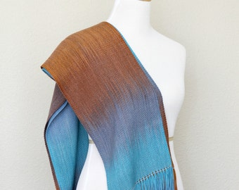 Woven scarf, pashmina scarf, unisex scarf, ombre scarf, women wrap, turquoise, blue and brown long with fringe gift for her