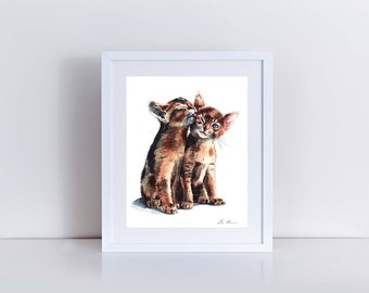Kitten Kisses Giclee Print of Watercolor Abyssinian Cute Kittens Kiss Friends Cat Lady Best Buddies BFF Fluffy Brother Sister Cats Painting