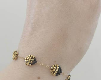 Artemis Moon Bracelet, Moon Phase, Lunar Phase, Full Moon, New Moon, Black and Gold, Beaded Bracelet, Gold Filled Bracelet