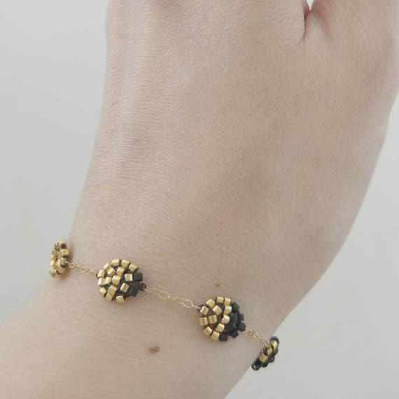 Artemis Moon Bracelet, Moon Phase, Lunar Phase, Full Moon, New Moon, Black and Gold, Beaded Bracelet, Gold Filled Bracelet