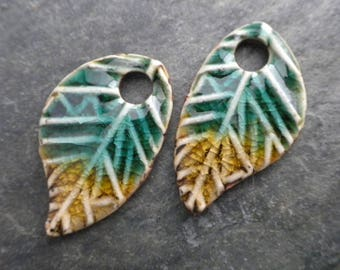 Wings- handmade artisan ceramic rustic clay earring bead pair deep aqua and straw