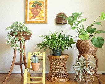 Vintage Tapered Woven Wicker Table / Plant Stand