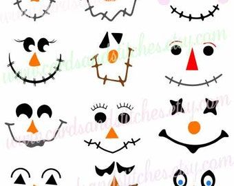 Scarecrow Faces SVG - Scarecrow SVG - Autumn SVG -  Digital Cutting File - Graphic Design - Instant Download - Svg, Dxf, Jpg, Eps, Png