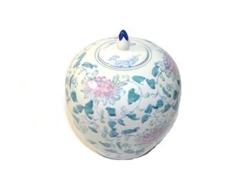 Vintage Pink and White Melon Jar Vintage Ginger Jar Pink and White Ceramic Jar Large Ginger Jar