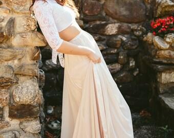 Bonnie Wedding Dress // Two piece Chiffon Side Slit  Skirt// Blush Wedding Dress