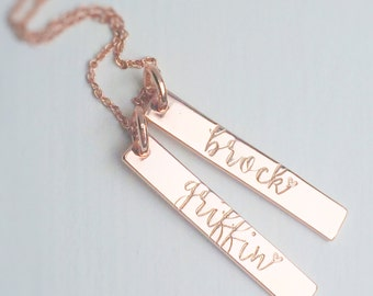 Rose Gold Name Necklace Bar Gift for Mom Mother's Day Choose Number of Names Personalized Custom Trendy Name Necklace