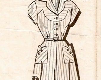 Nice Vintage 1940s to 1950s Sew-Rite 8251 Seam Interest Half Size Yoked Button Front Shirtwaist Dress Sewing Pattern B33