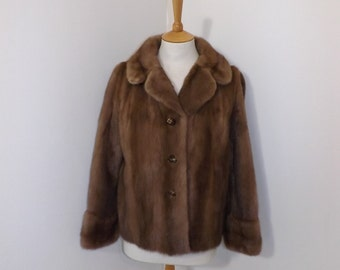 Vintage real mink fur honey light brown dark blonde short coat bolero jacket Small Medium UK 10 12 by Sefton Marks