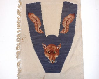 Antique Victorian wool work petit point fox animal blue collar or slipper shoe front