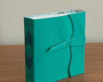 Aqua Leather Journal / Notebook - Long Stitch Binding with Marbled Paper Interior