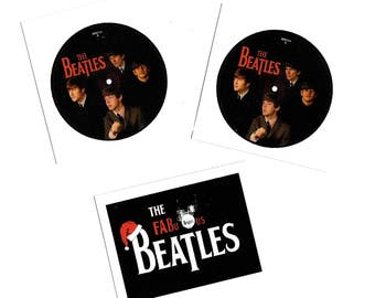 "CLEARANCE 3 Beatles Fabric Patches, ""The Fabulous Beatles"" Beatles 45 rpm on Quilt Fabric Blocks for Beatlemania Home decor and Gifts FB-617"