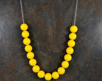Statement Necklace, Gumball Necklace, Yellow, Chunky Necklace, Round Bead Necklace, Long Necklace, Ball Bead Necklace, Silver, Acrylic