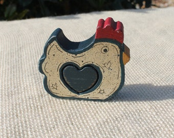 Rooster Love Chunk in Navy Blue and Cream