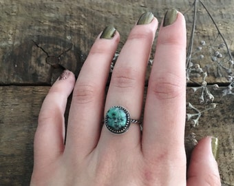 turquoise braided stacking ring // simple engagement ring // orvil jack turquoise // size 6