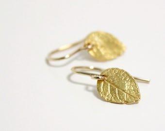 Minimalist Earrings, Tiny Gold Leaf Earrings, Dainty Earrings, Delicate Simple Jewelry, Gold Filled Earrings for Women, Nature Earrings