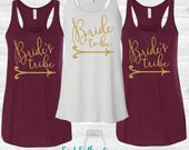 Bride or Bride's Tribe Flowy Racerback Tank Top - Bachelorette Party Shirts, Bride Tank, Bridesmaid Shirts, Bridal Party Tank Tops