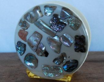 Mid Century Abalone Lucite Napkin Letter Holder