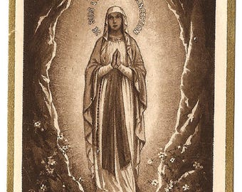 Our Lady of Lourdes in Grotto Antique Monochrome French Holy Prayer Card Catholic from Vintage Paper Attic