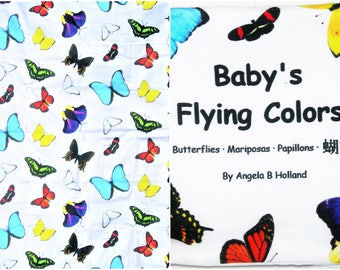 Baby's Flying Colors, Cloth Baby Book & Matching Blanket - Butterflies - English, Spanish, French, Chinese Characters -GOTS Organic Cotton