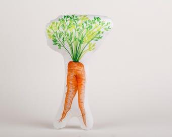 Quirky carrot pillow, decorative pillow, stuffed carrot