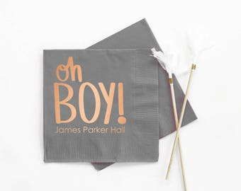 Boy Baby Shower Napkins Personalized Napkins Baby Shower Decorations for Boy Custom Printed Beverage Napkins Oh Boy Party Supplies Copper