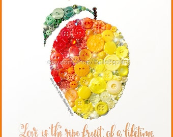 Fourth Anniversary | Fruit & Flowers Anniversary | Button Art Mango | Traditional Wedding Anniversary Gifts | Wedding Calligraphy
