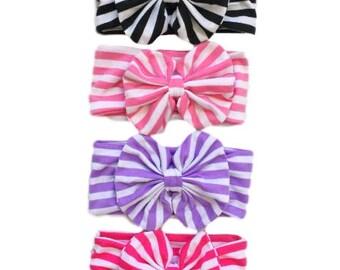 Baby Girl Big Bow Headband - Stripes Stretchy Headband  Baby Toddler Little Girl Stripped Black Hot Pink Lavender Purple White