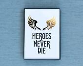 Heroes Never Die - Mercy - Overwatch Hero Series Gold Foil & Framed Print