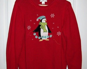 SAlE 70% Off Vintage Ladies Red Ugly Christmas Penguin Sweater by Christopher & Banks XL Now 2.70 USD