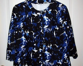 Vintage Ladies Black & Blue Floral Print Blazer Jacket by Laura Ashley Medium Only 12 USD