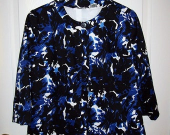 Vintage Ladies Black & Blue Floral Print Blazer Jacket by Laura Ashley Medium Only 10 USD