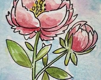 Peony Watercolour, Aceo Original