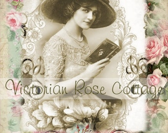 Edwardian Lady Reading Floral Fabric Block - Art Print