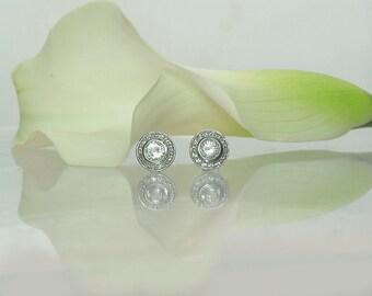 Halo Earrings, Halo Sterling Earrings, Diamond Alternative Gemstone, Bezel Set Earrings, Herkimer Diamond Earrings, Conflict Free  Earrings