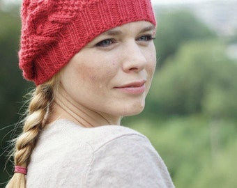 Hand knit beret autumn winter beret - chunky scarlet  hat rustic Girlfriends gifts for teens
