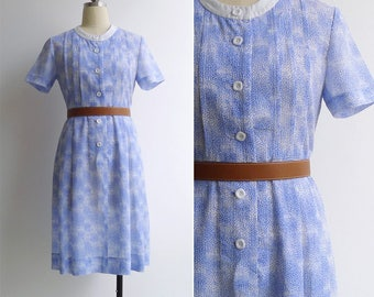 Vintage 80's Periwinkle Blue Floral Print Day Dress S or M