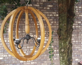 """24"""" Distressed Stained Orb Chandelier Sphere Wood Chandelier Rustic Farmhouse Free Shipping"""