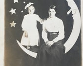 RPPC Real Photo Post Card of Woman and Little Girl on Paper Moon Circa 1910