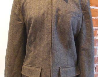 Ralph Lauren Herringbone Tweed Wool Equestrian Jacket Size 16W