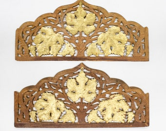 Wood Carved Indian Door Top / Wall Pediment, Architectural Salvage