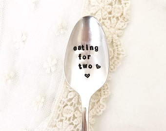 Eating For Two. Baby Announcement spoon. Baby Shower Gift. Stamped Utensil for the Mom to Be. For Such A Time Designs