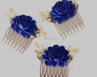 Personalised Wedding Hair Comb, Custom Bridesmaids Hair Clip, CHOOSE YOUR COLOR, Customised Bridal Comb, Flower Girl Gift, Floral Hair Slide