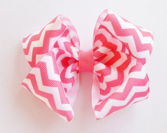 Hot pink Chevron print hair bow--3.5 inch big boutique bows for baby toddler girls--simple accessories