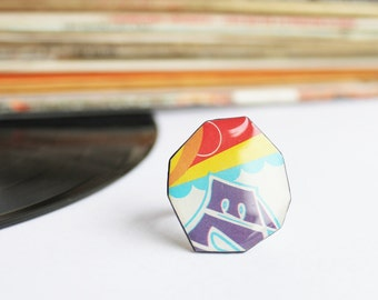 contemporary ring for her modern jewelry colorful ring funky ring statement ring resin ring music geek ring unique ring adjustable ring