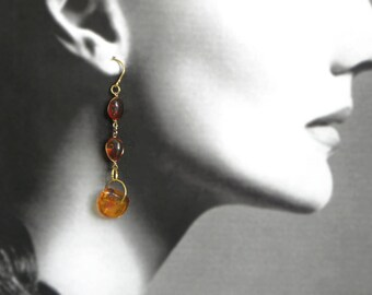 Amber drop earrings, 70mm dangles, vintage amber with new gold plated components and new gold plated ear hooks, OOAK, hand made