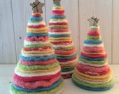Trees from Felted Wool Sweaters - Blue, Green, Yellow, Pink