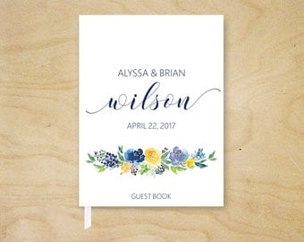 Wedding Guest Book, Summer Floral Guest Book, Floral Reception Book, Blue, Yellow, Lavender Floral Guest Book, Whimsical Bridal Shower Book