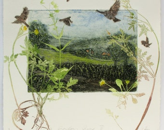 Fine art print, Home for Sparrows, collagraph monoprint. OOAK