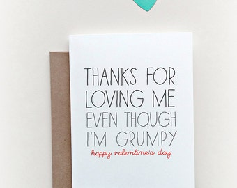 Funny Valentines Day Card, Valentines day card, Funny Love Card, thanks for loving me, Grumpy Card, Love Card, Valentine Card, I love you