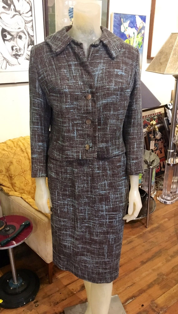 "Vintage Smokey Blue Brown Tweed Suit by Fritzi of CA, Small 27"" Waist"